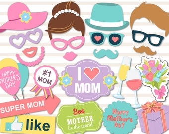 Printable Mother's Day Photo Booth Props,  Mother's Day Party Photo Booth Props, Instant Download Love Mum Props Love Mom Party Props 0180