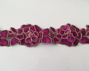 Fuchsia and gold lace 6.5 cm width sewing