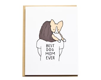 Dog Mom Card, Mother's Day Card, Corgi Card, Dog Card, Dog Mom, Mom Birthday, Corgi Mom