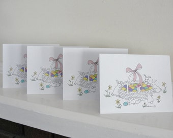 Easter Cards, Easter Bunny Cards, Cute Easter Bunnies, Colored Easter Eggs, Cute Easter Cards Set of 4