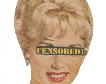 Original Collage Art on Paper,  Censored Humorous Artwork, Funny Bathroom Decor, Fun Retro Wall Art