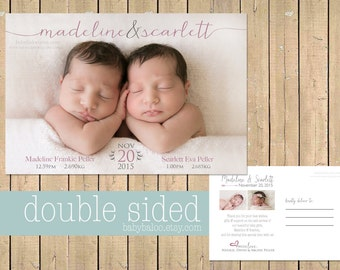 TWIN Birth Announcement Thank you card - DOUBLE SIDED Twins Announcement - Twin baby girl Announcement - Digital Custom - collage - postcard