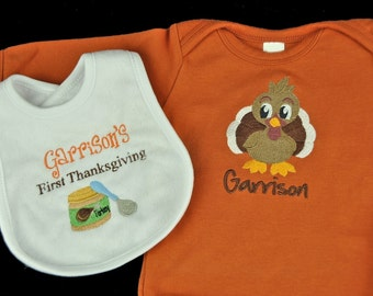 Personalized Baby's First Thanksgiving/Fall Baby Bodysuit and Bib Set / Choose your Design