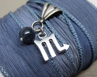 Starsign Scorpio Bracelet  ... antique silver zodiac silk wrap bracelet with gemstone