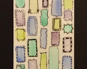 Original Watercolor Blue Green Purple Frames, 4x6 Watercolor Print