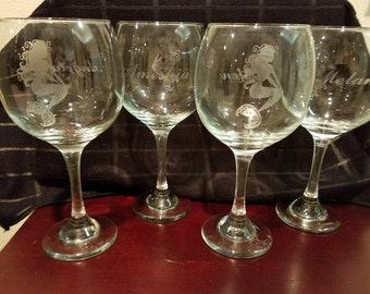 Etched Mermaid Wine Glass - With or without personalization