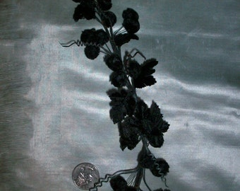 Black antique velvet millinery berries