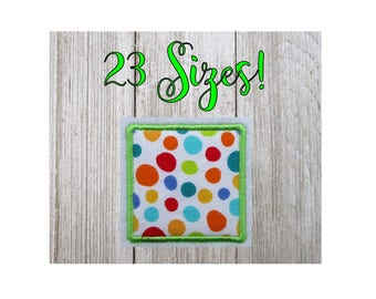 Square Applique Embroidery Design, Machine Embroidery Designs, 23 Sizes