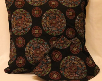 "Cushhion Cover, 18"" Square Cushion Cover, Oriental Theme Cushion Cover, Pillow Cover, Throw Pillow Cover"