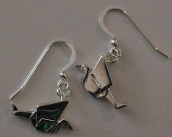 Sterling Silver 3D ORIGAMI CRANE Earrings -