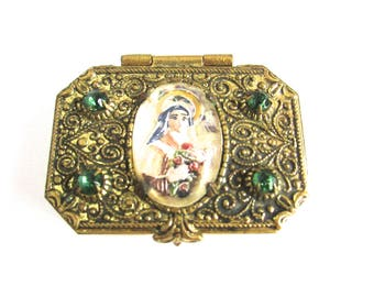 Rosary Box Trinket Reverse Painted Intaglio Saint Therese Religious Catholic Little Flower Rhinestone Lisieux Pocket Shrine