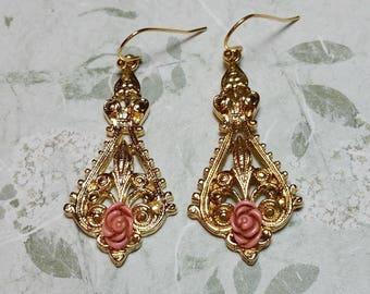 Pink Rose Earrings, Pink Rose Jewelry, Victorian Style, Vintage Dangle Earrings, Romantic Earrings, Vintage Style, Antique Style Earrings