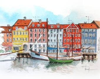 Copenhagen original painting/Copenhagen watercolor cityscape/watercolour painting/Copenhagen artwork/small painting/miniature watercolor