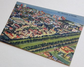 University of Chicago, Vintage Postcard, Chicago Postcard, Chicago, Campus, Chicago Post Card,  Chicagoland, Linen postcard, Birdseye View