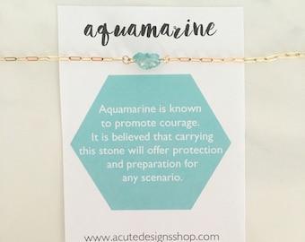 Aquamarine Healing Crystal Necklace, gemstone, March birthstone, aqua, green, gold, silver, aquamarine jewelry, gift, under 30, dainty, raw