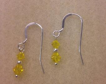 Citrine swarovski crystal drop earrings.  Sterling silver. November birthstone.