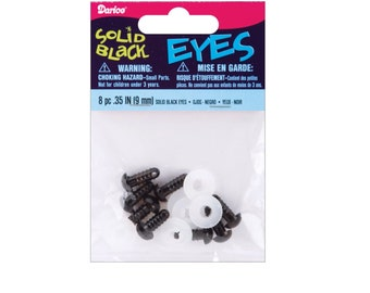 8-Piece 9mm Solid Black Eyes with Plastic Washers. Doll Parts
