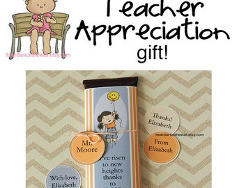 Personalized Teacher Appreciation Candy Bar Wraps-Child's Name and Teacher's Names on Tags