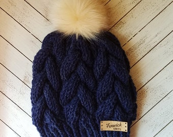 READY TO SHIP Navy blue knit braided cable beanie with cream faux fur pom pom, blue knit hat, knit beanie, knit hat, beanie, hat