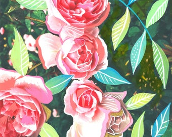 Pink Roses Art Print | Mixed Media Painting | Floral Photograph | Katie Daisy | 8x10 | 11x14
