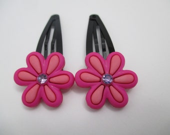 GIRLS HAIR CLIPS/  Flower Hair Clips/  Toddler Hair Clips/ Flower Hair Barrettes/  Black Snap Clips/ Pink Flower Hair Clips/ Gift For Her