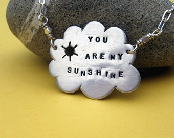 You Are My Sunshine..  sterling silver cloud and sun necklace