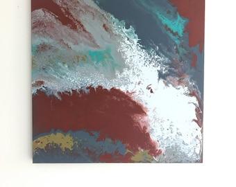 "24x24"" Original Acrylic Pour painting on canvas"