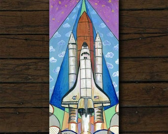 Space Shuttle mixed media artwork archival giclée print on cradled board with edges