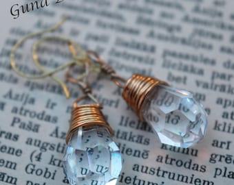 Earrings- Vintage Crystal Teardrop Dangle Earrings by GunaDesign