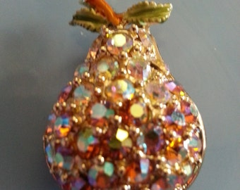 "Vintage 1950s Gold Toned Metal ""Pear"" Brooch with Aurora Borealis Stones STUNNING!"