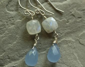 Moonstone Earrings, Sterling Silver Wire Wrapped Earrings, Periwinkle Blue Chalcedony Jewelry, Sterling Silver Dangles, Genuine Gemstone Gem