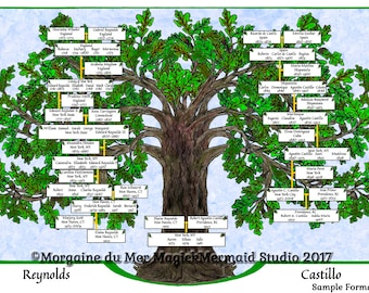 Family Tree Personalized Ancestry Chart Giclee Print Oak Tree Ink and Watercolor Illustration Genealogy Wedding Gift Wall Art