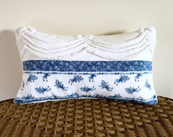 SAPPHIRE QUEEN blue chenille pillow cover 12 X 20 inches, blue cushion cover, cottage chic, shabby style pillow, porch pillow case