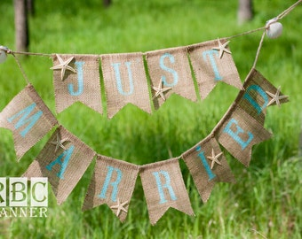 "Burlap ""Just Married ""   Wedding photo Banner, large banner with starfish and shell"