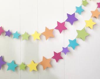 Rainbow Star Garland / Wedding Decoration / Garland Bunting / Kids RoomDecor / Nursery Decor / Photo Prop / Adjustable Hand Sewn