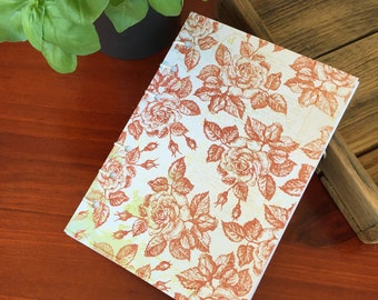 Handmade Stitched Notebook Red roses