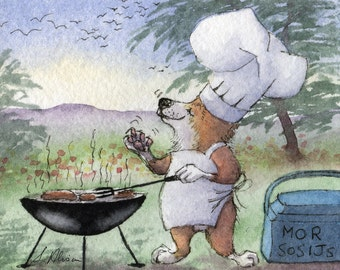Pembroke Welsh Corgi dog 10x8 inches art print by Susan Alison BBQ barbecue cooking garden drooling over sausages meat pork beef vegetarian