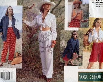 VOGUE 2706 Resort Wear CASUAL WARDROBE Pattern Top Shirt Pants Shorts Bust 36 38 40 Size 14 16 18 UNCuT Womens Misses Petite Sewing Patterns