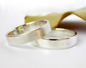 Simple Plain Sterling Silver Wedding Band with a Brushed or Polished Finish