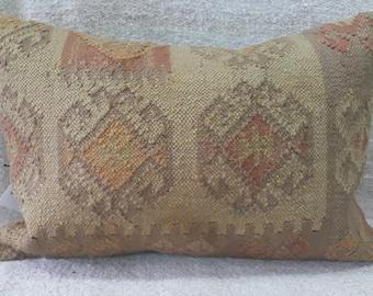 "Kilim Pillow, 16""×24"" İnches, Decorative Pillow, Aztec Pillow, Turkish Kilim Pillow, Cushion Cover, Throw Pillow, Tribal, Pastel Colors"