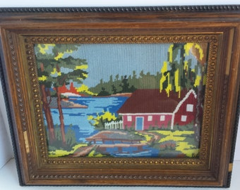 Vintage Framed Needlepoint House On The Water Scene