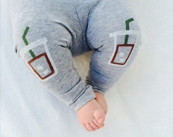 Iced Coffee Leggings Frappuccino Hand Painted Childrens Leggings Custom Toddler Leggings Womens Leggings