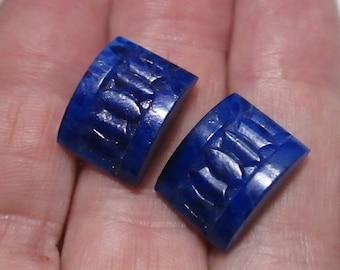 2 Vintage Lapis Blue Glass Cabochons