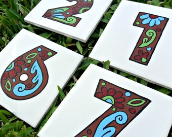 Hand painted house numbers address tiles EARTH