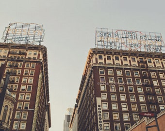 downtown Los Angeles photo, DTLA print, Hotel Rosslyn photograph, LA photography, urban art, architecture, gift for him, brown decor