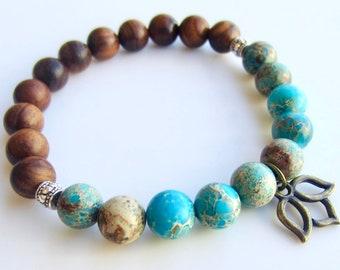 Turquoise Bracelet, Sandalwood Bracelet, Turquoise Boho Bracelet, Jasper Bracelet, Lotus Bracelet, Boho Bracelet, Lotus Charm Bracelet