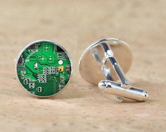Computer  green Circuit Board  picture Cufflinks  Computer Geek Cuff links Nerd Accessories  Geek Gift
