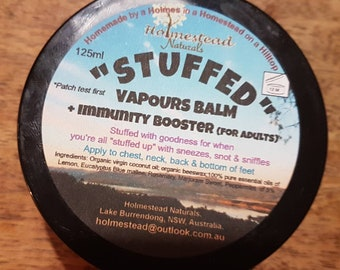 "Vapours Balm ""STUFFED""/ immunity booster/ cold & flu/ sick/ breathe/ get well soon gift/ winter/ natural remedy/ rub/ essential oils"