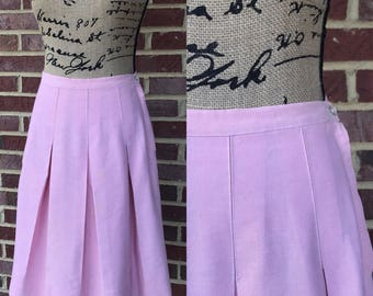 1960s 60s mod skirt - A line light pastel pink box pleated high waisted knee length skirt size xs