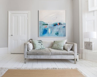 """ABSTRACT painting, Giclee, Fine Art Print, white painting, blue painting, modern painting """"Time is Up"""""""